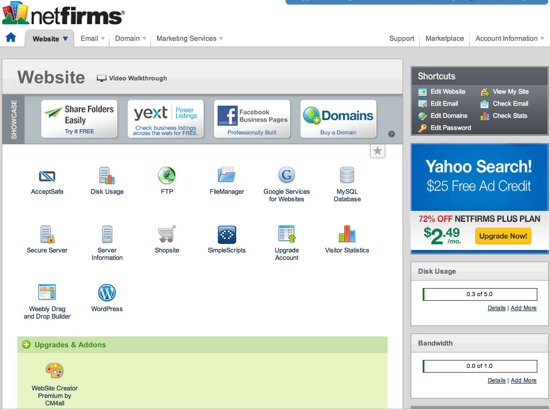 A look at the Netfirms control panel