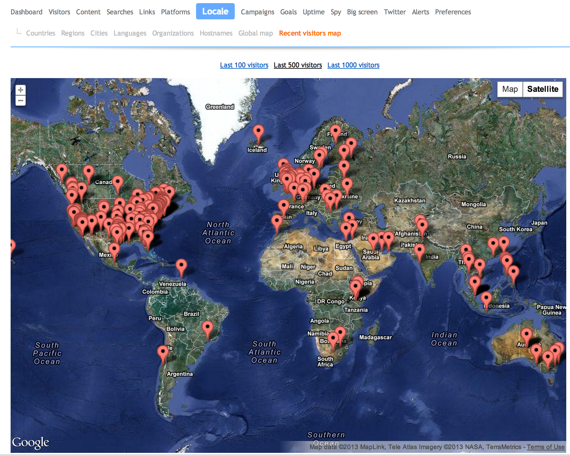 An example of a recent visitors map of this website.