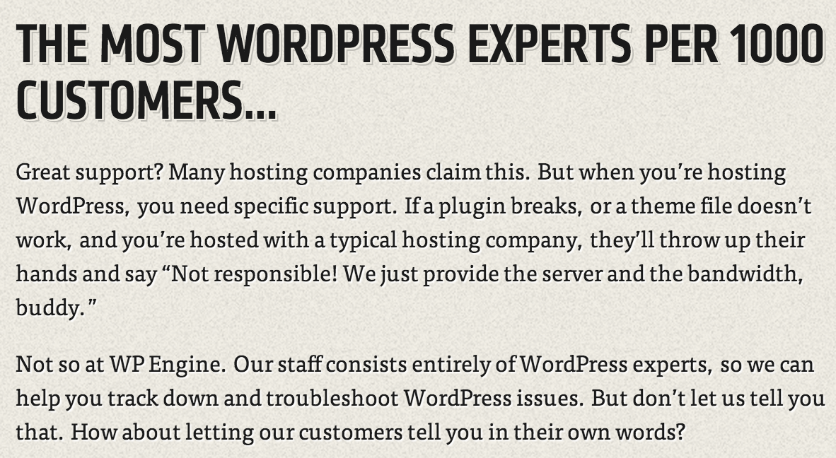 WP Engine support advertisement