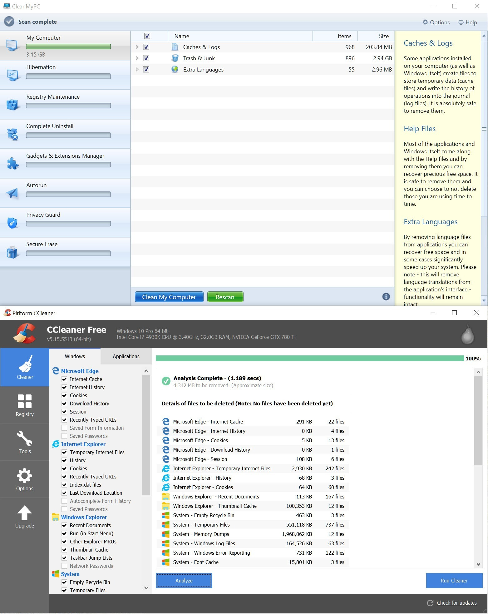 cleanmypc cccleaner data comparison
