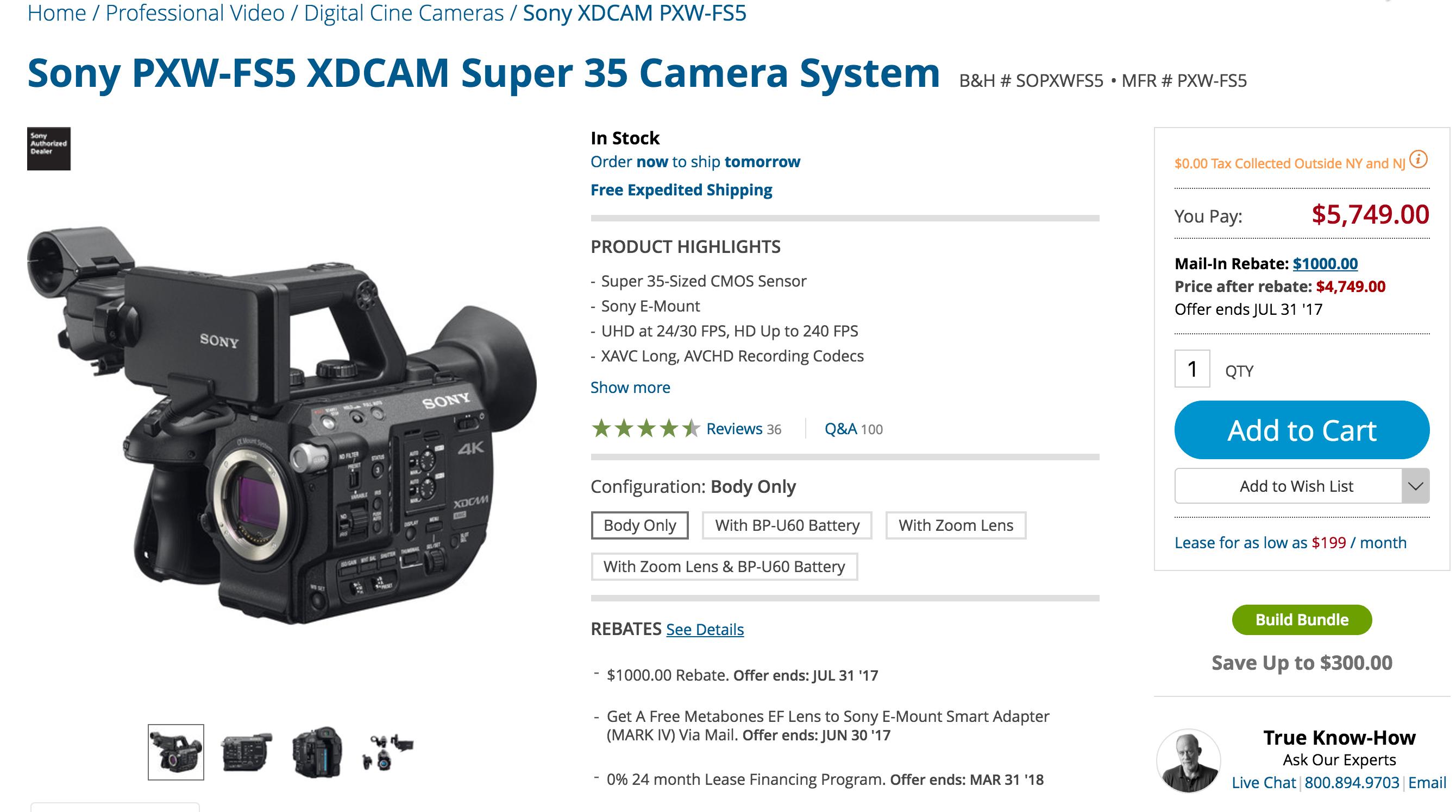 Sony FS5 1K Rebate