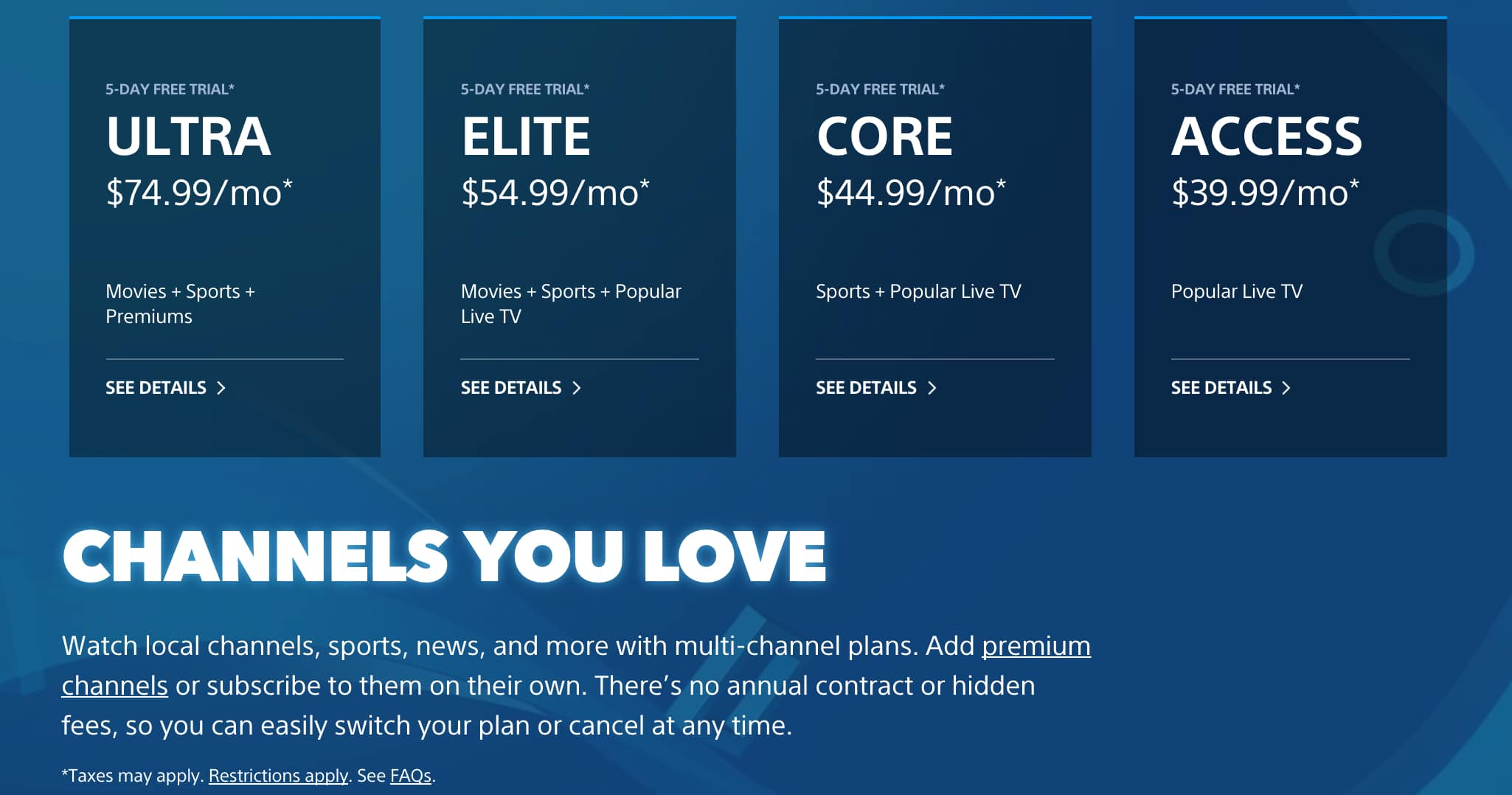 PlayStation Vue Packages