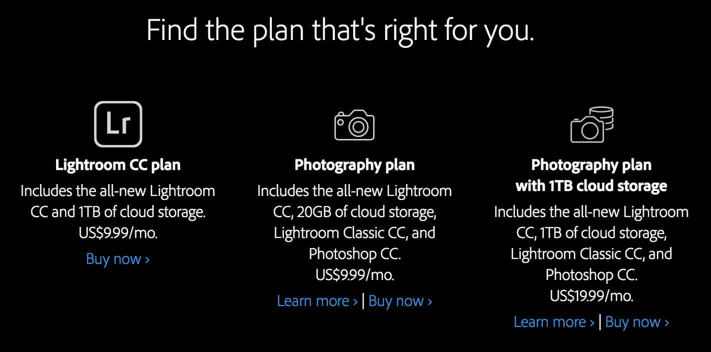 Adobe Lightroom CC Plans