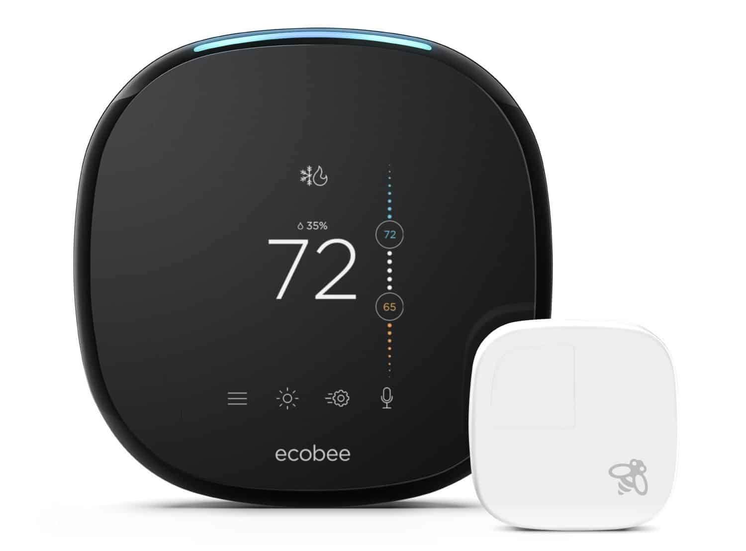 A front view of the Ecobee4 With Sensor Smart Thermostat.