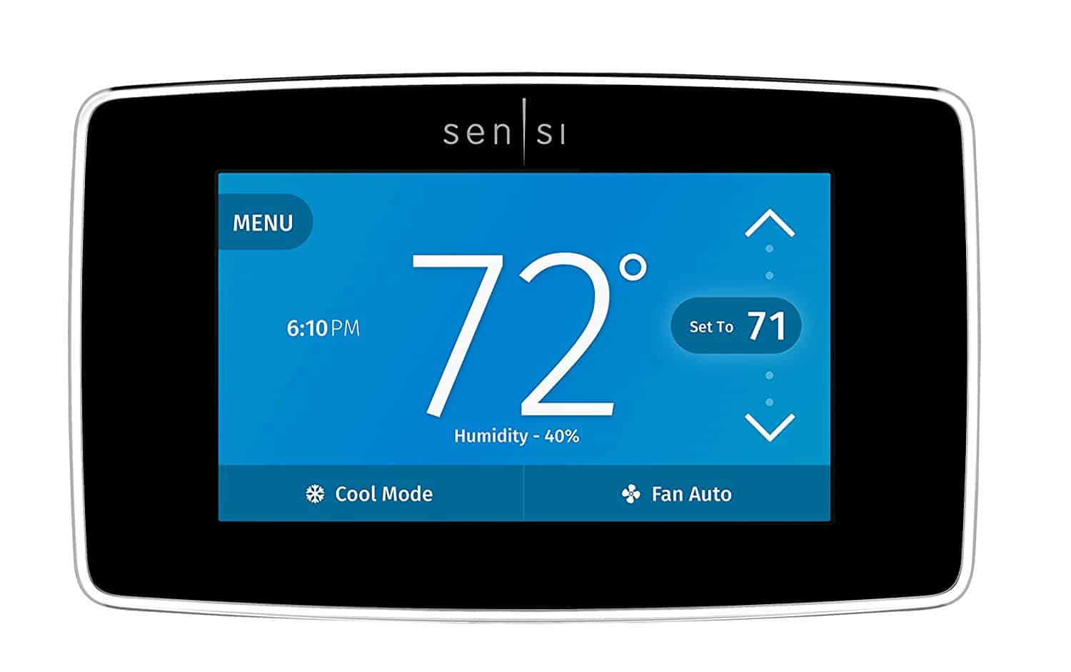 A head on view of the Emerson Sensi ST75 Thermostat.