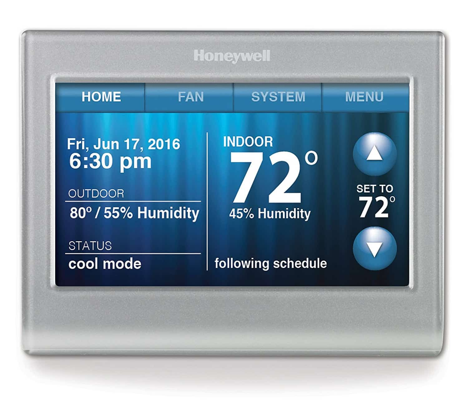 Front look at the Honeywell RTH9580WF Thermostat.