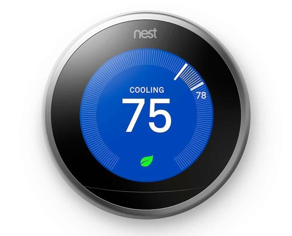 A head-on view of the Nest 3rd Generation Smart Learning Thermostat.