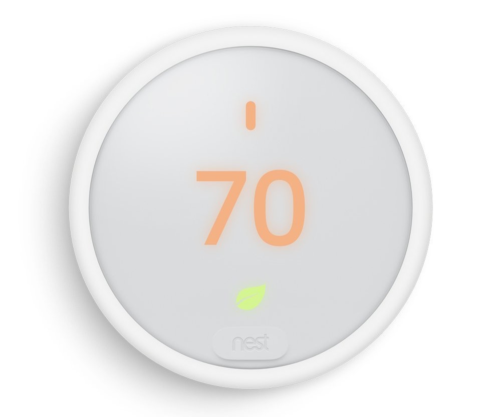 A forward view of the new Nest Thermostat E.