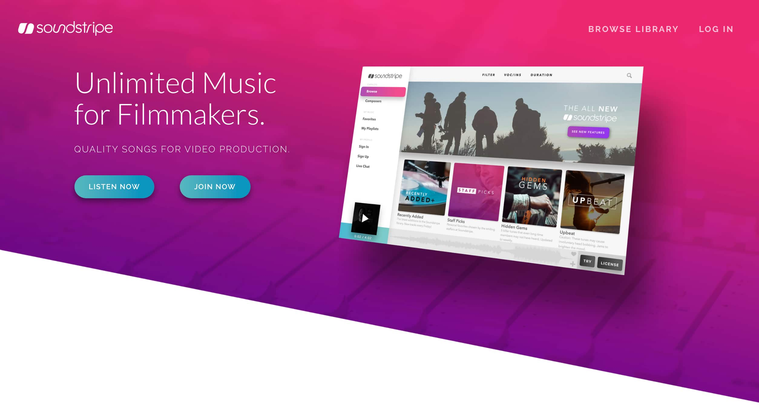 The homepage of Soundstripe's royalty free music service.