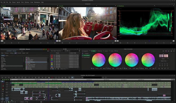 A view at the timeline and interface of AVID Media Composer.