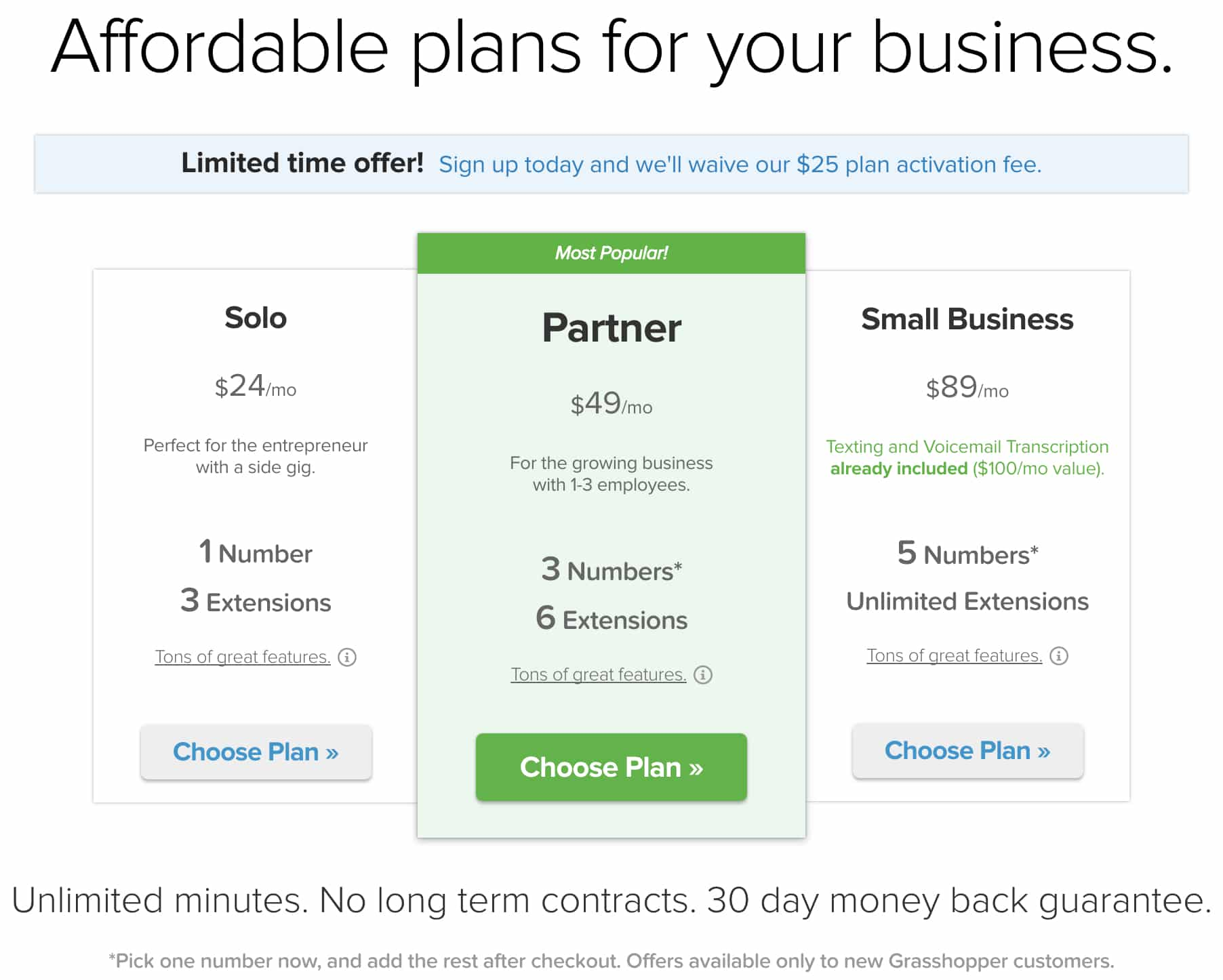 A comparison of Grasshopper's phone service plans with pricing and featuresets.