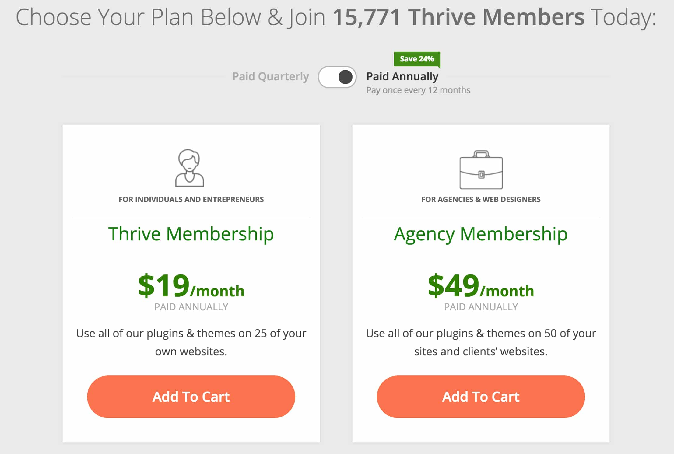 Thrive Membership Pricing Options