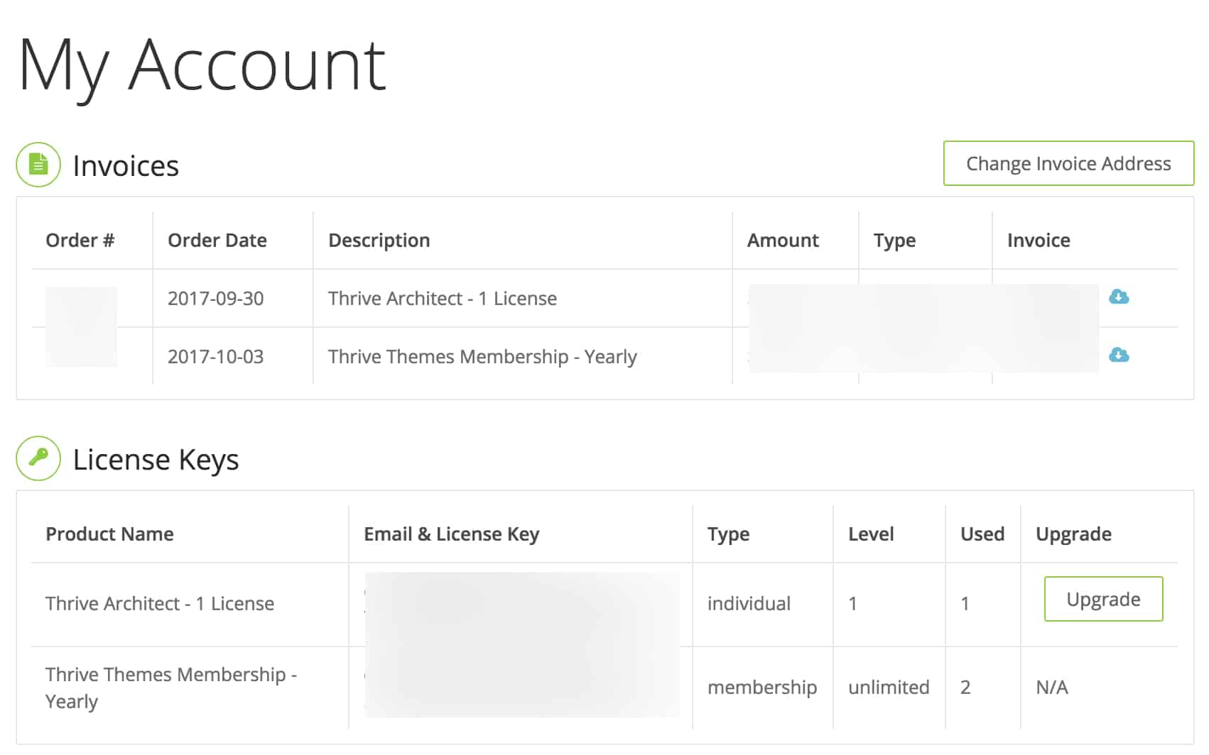 Thrive Membership Receipt