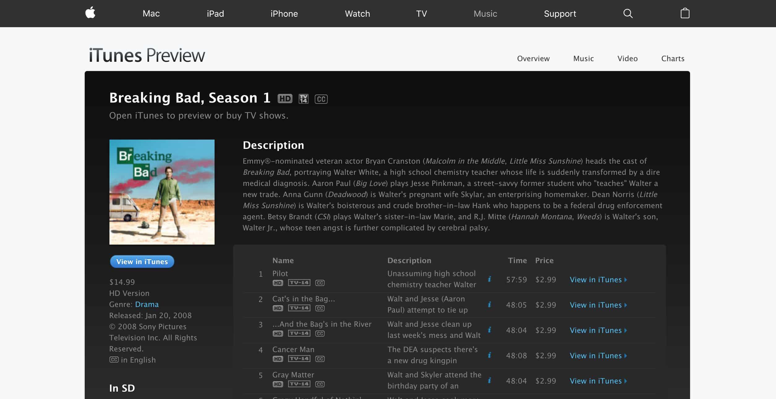 Breaking Bad Season 1 iTunes
