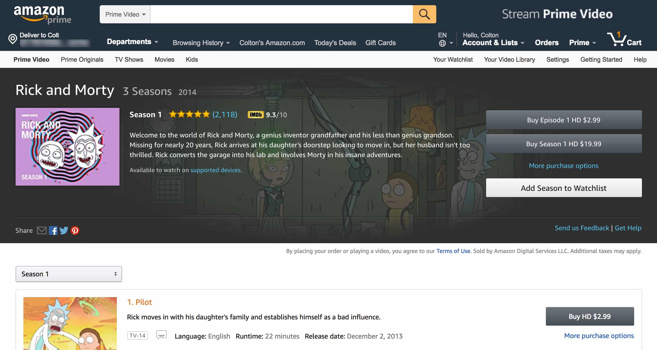 Rick & Morty Amazon Instant Video