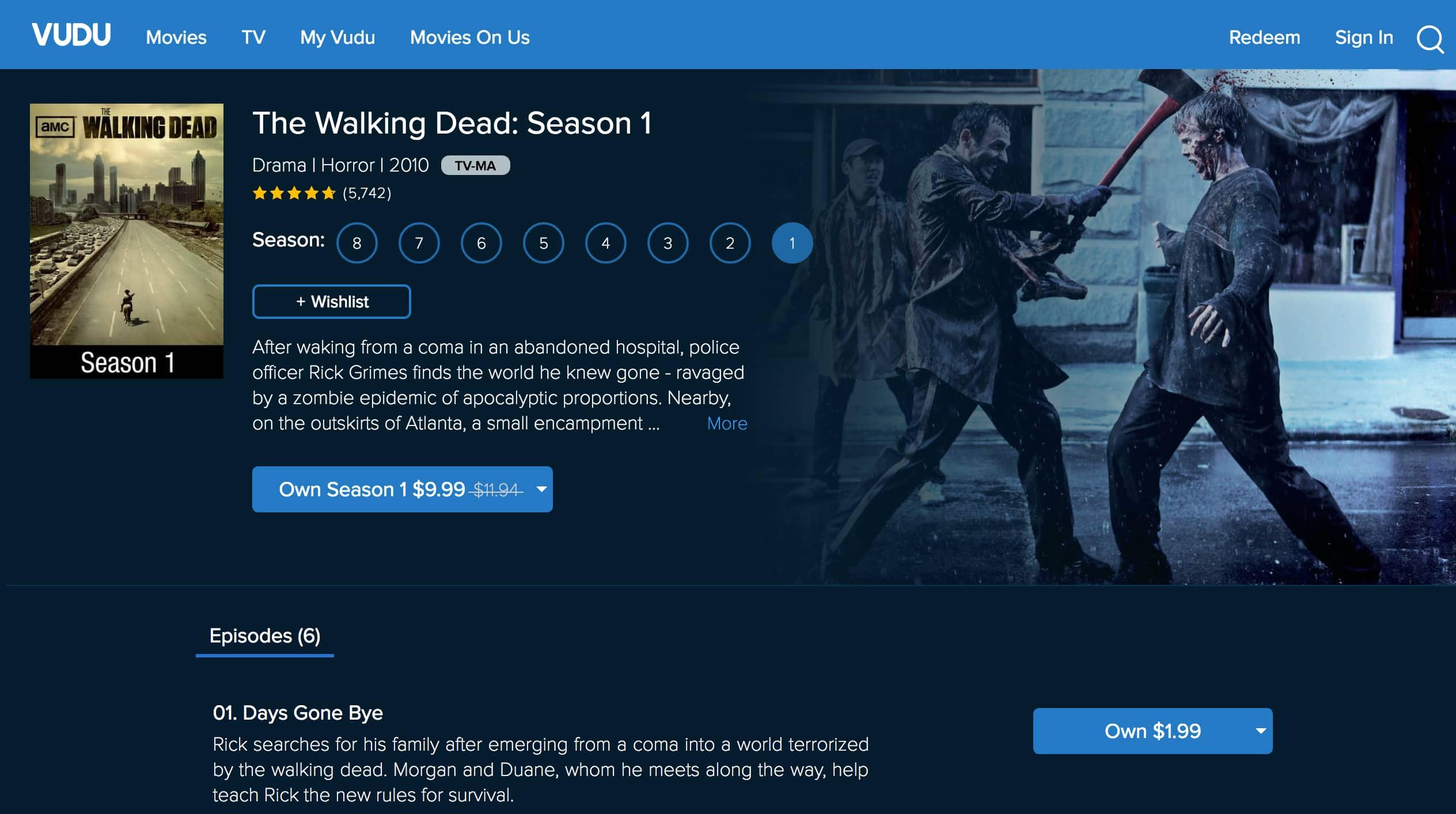 The Walking Dead on Vudu
