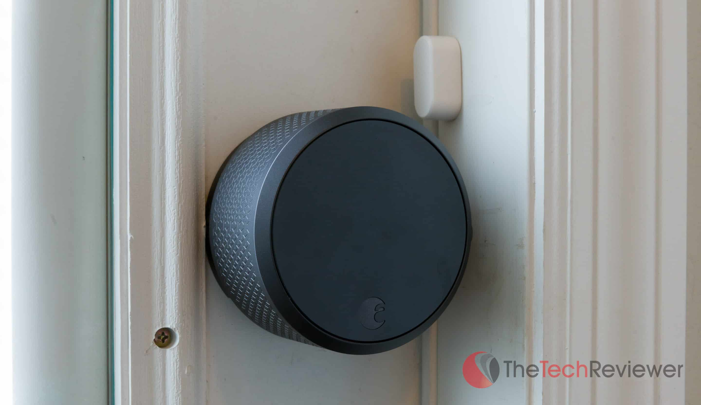 August Smart Lock Pro and DoorSense sensor close up
