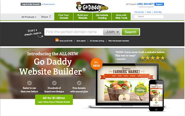 godaddy homepage