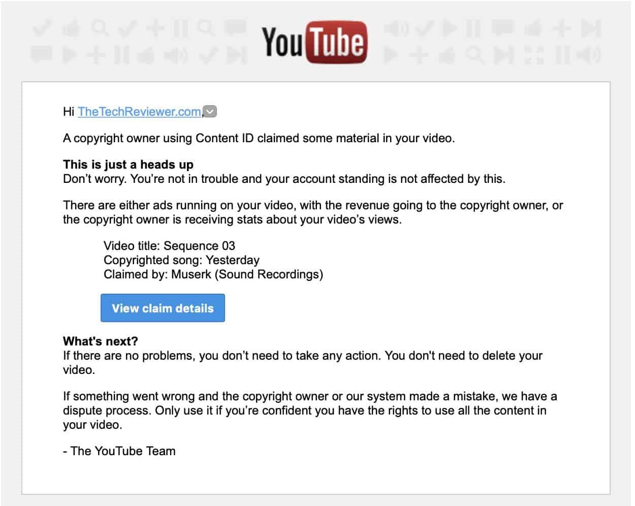YouTube Music Copyright Claim