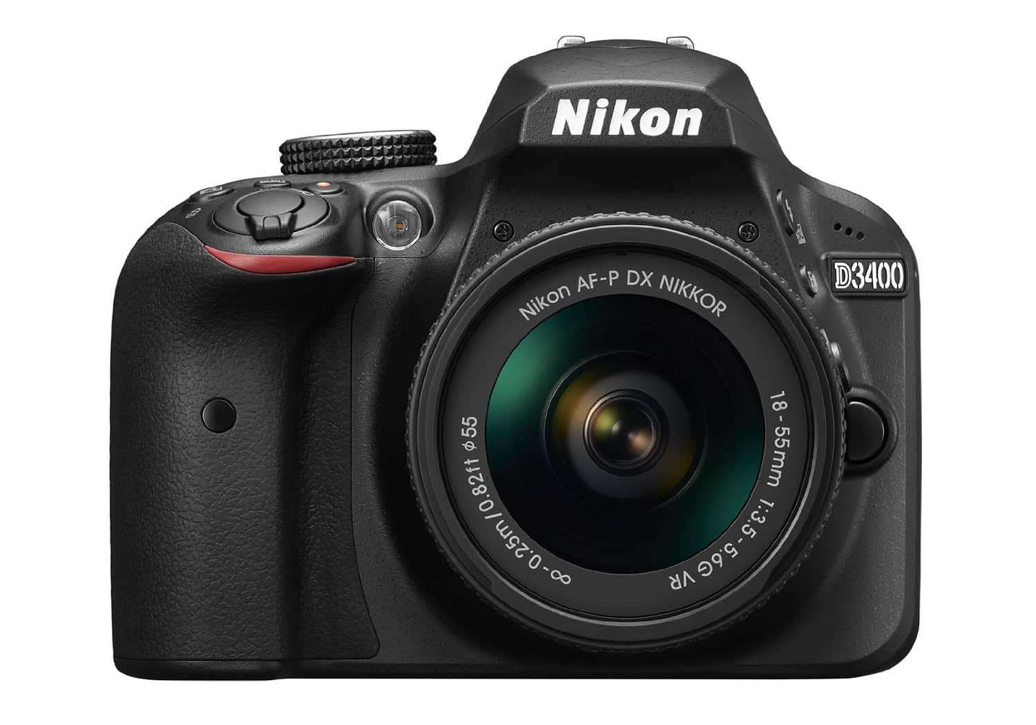 Front view of Nikon's D3400 DSLR Camera.