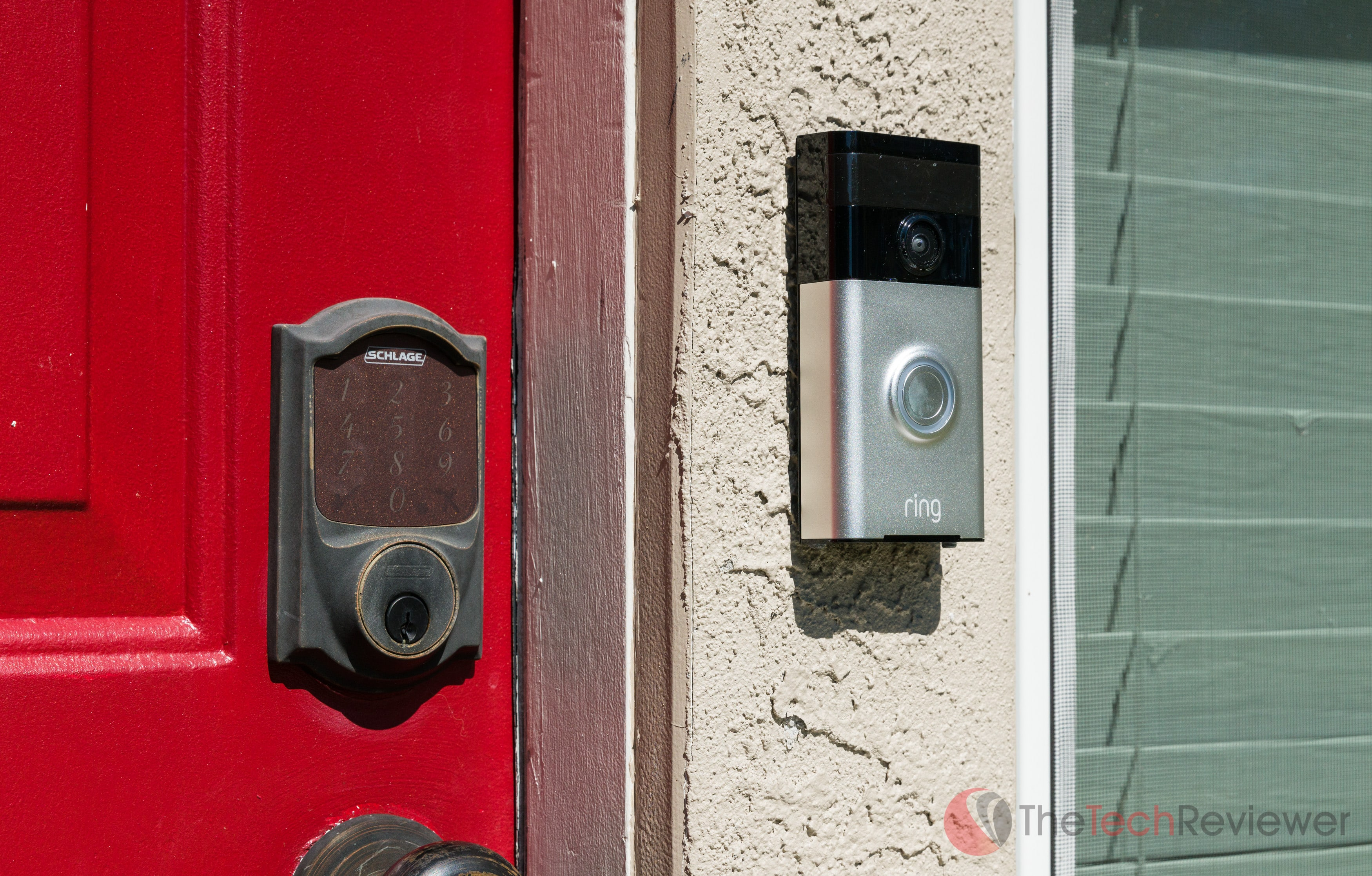 A Ring Video Doorbell (first generation) mounted on my home in St. Petersburg, Florida.