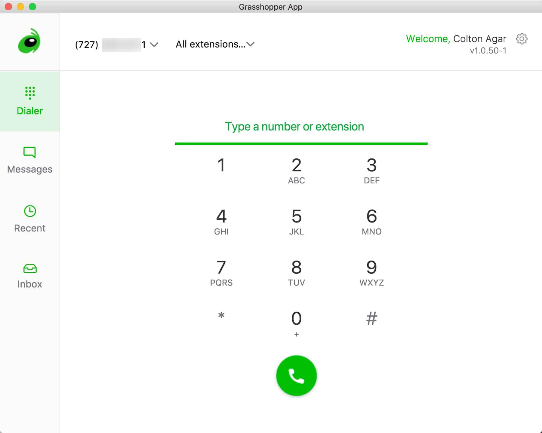 A screenshot of the Grasshopper desktop app running on MacOS.