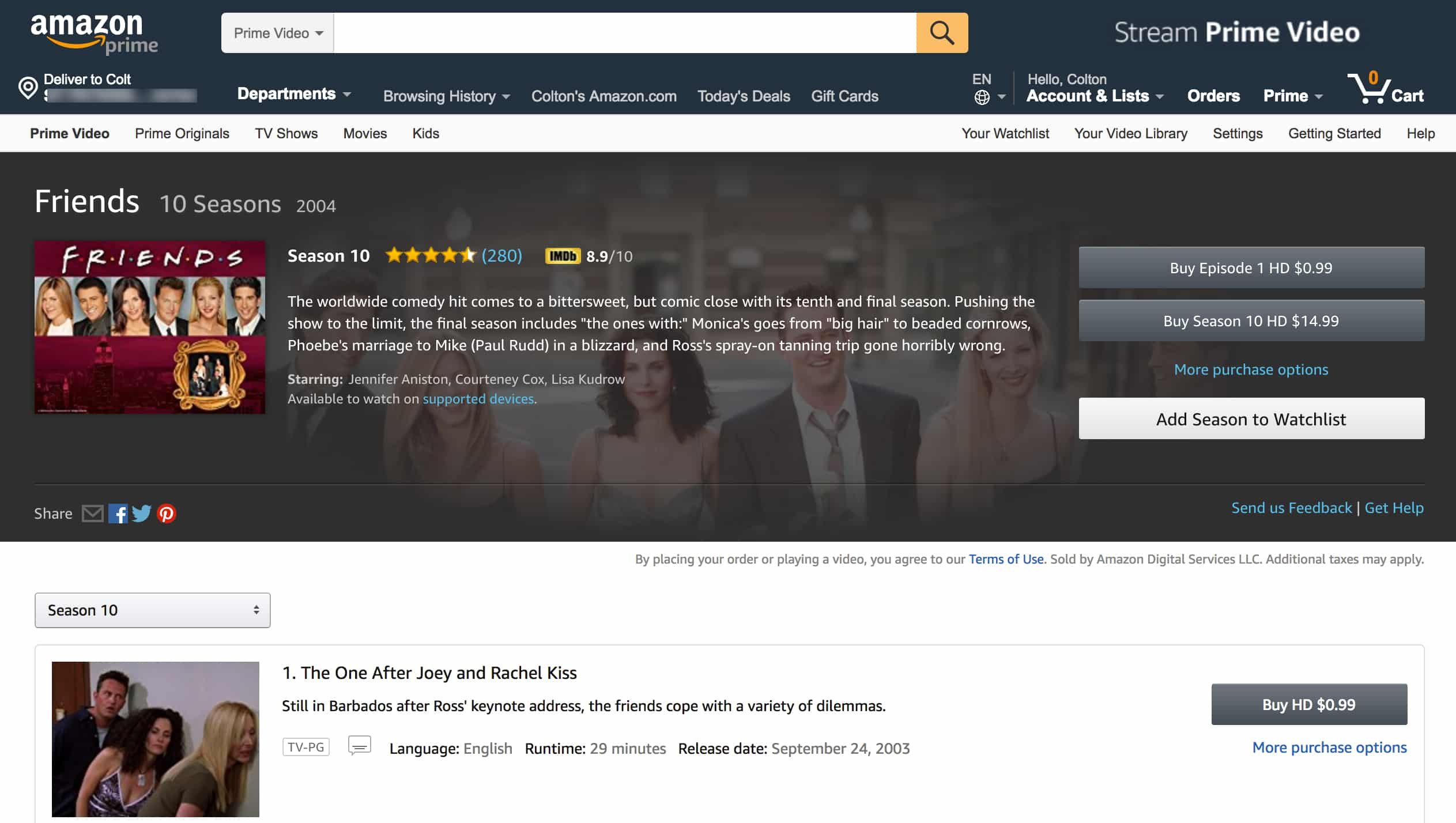 Amazon Instant Video Friends TV Show
