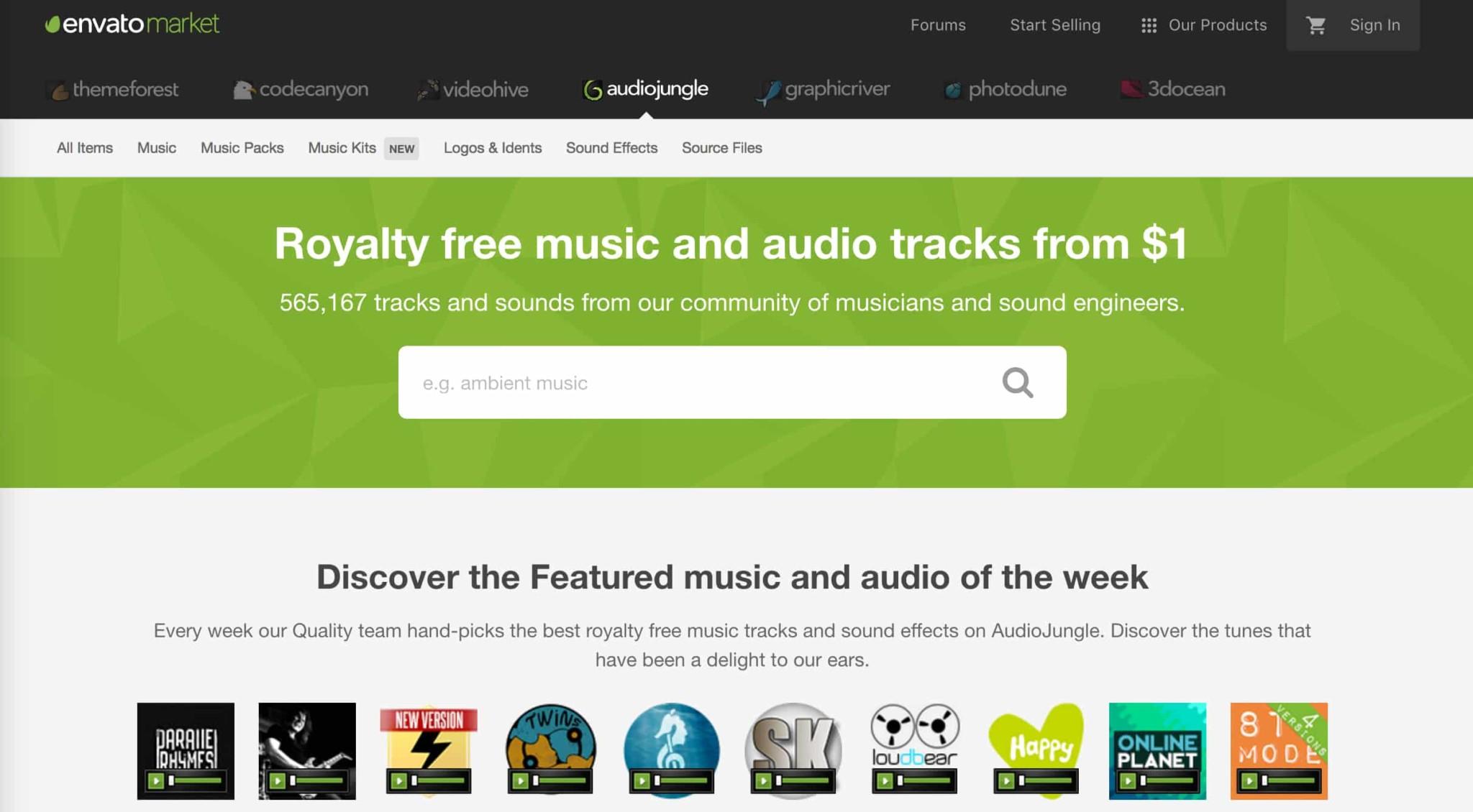 AudioJungle-Homepage