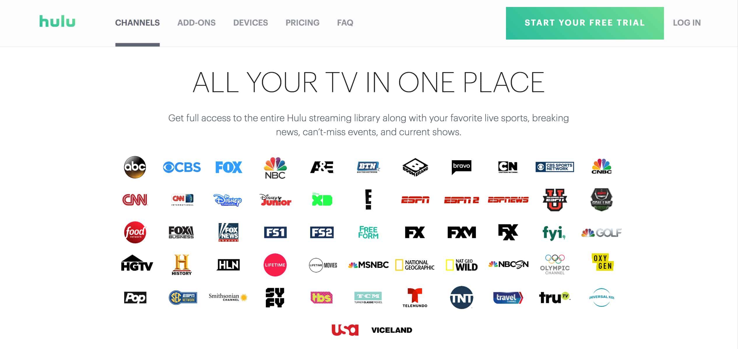 Hulu Live TV Package