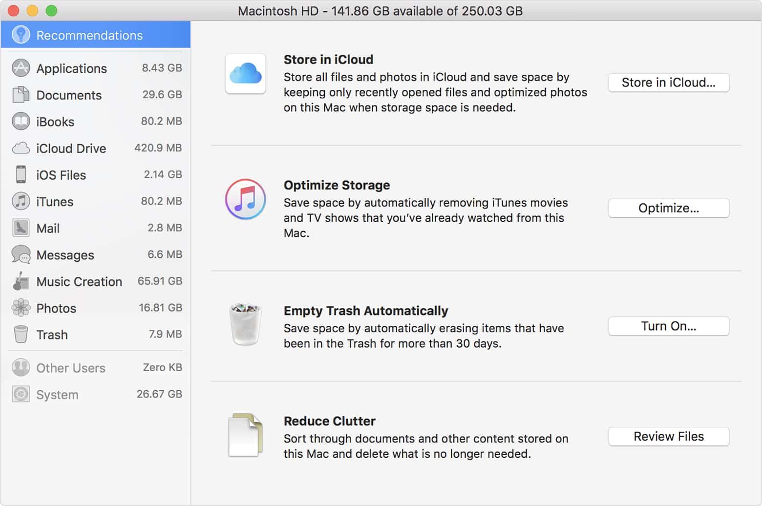 MacOS High Sierra's Optimize Storage Tool