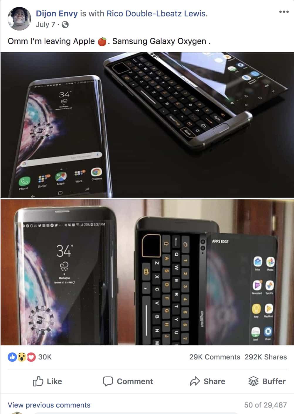 Viral Samsung Galaxy Oxygen FB Post