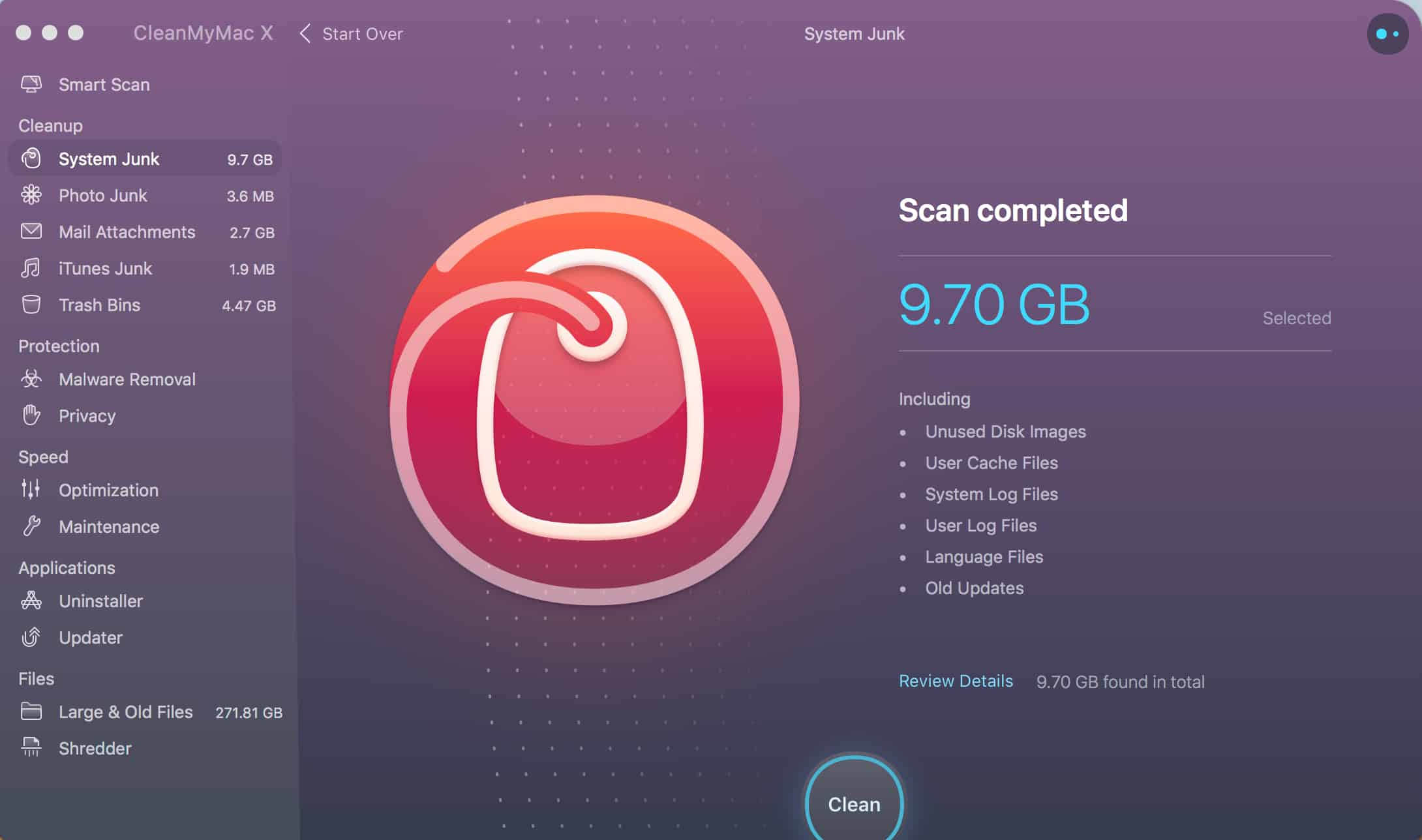 Clean My Mac X Results