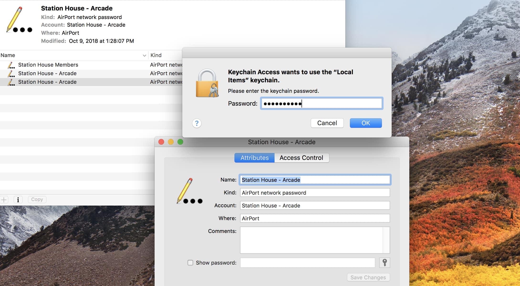 Enter Keychain Access Password