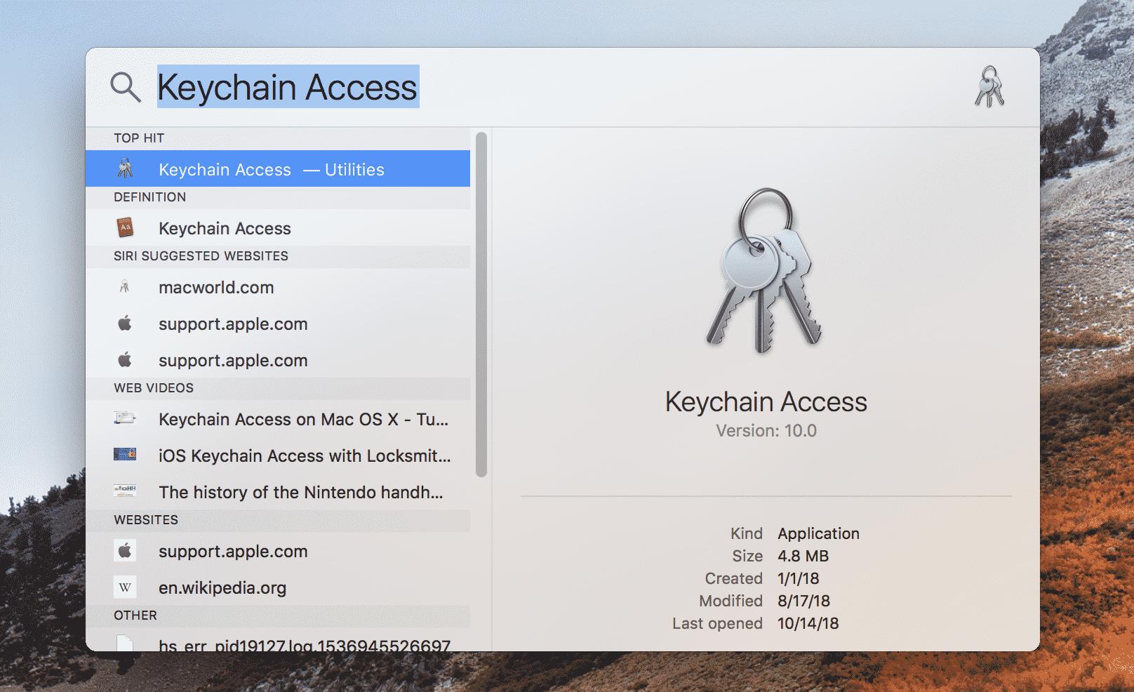 Keychain Access Spotlight