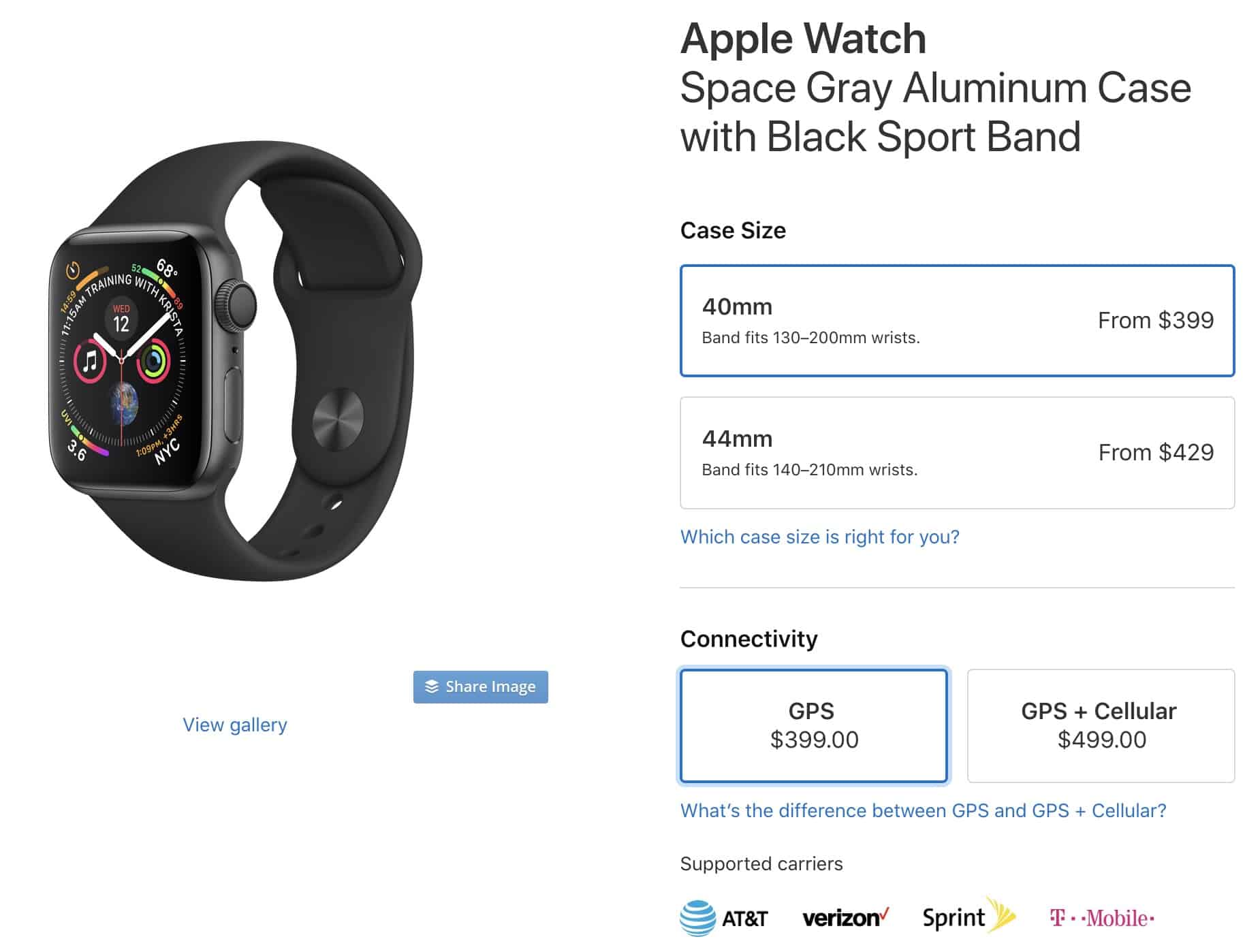 Apple Watch 40mm Product Page