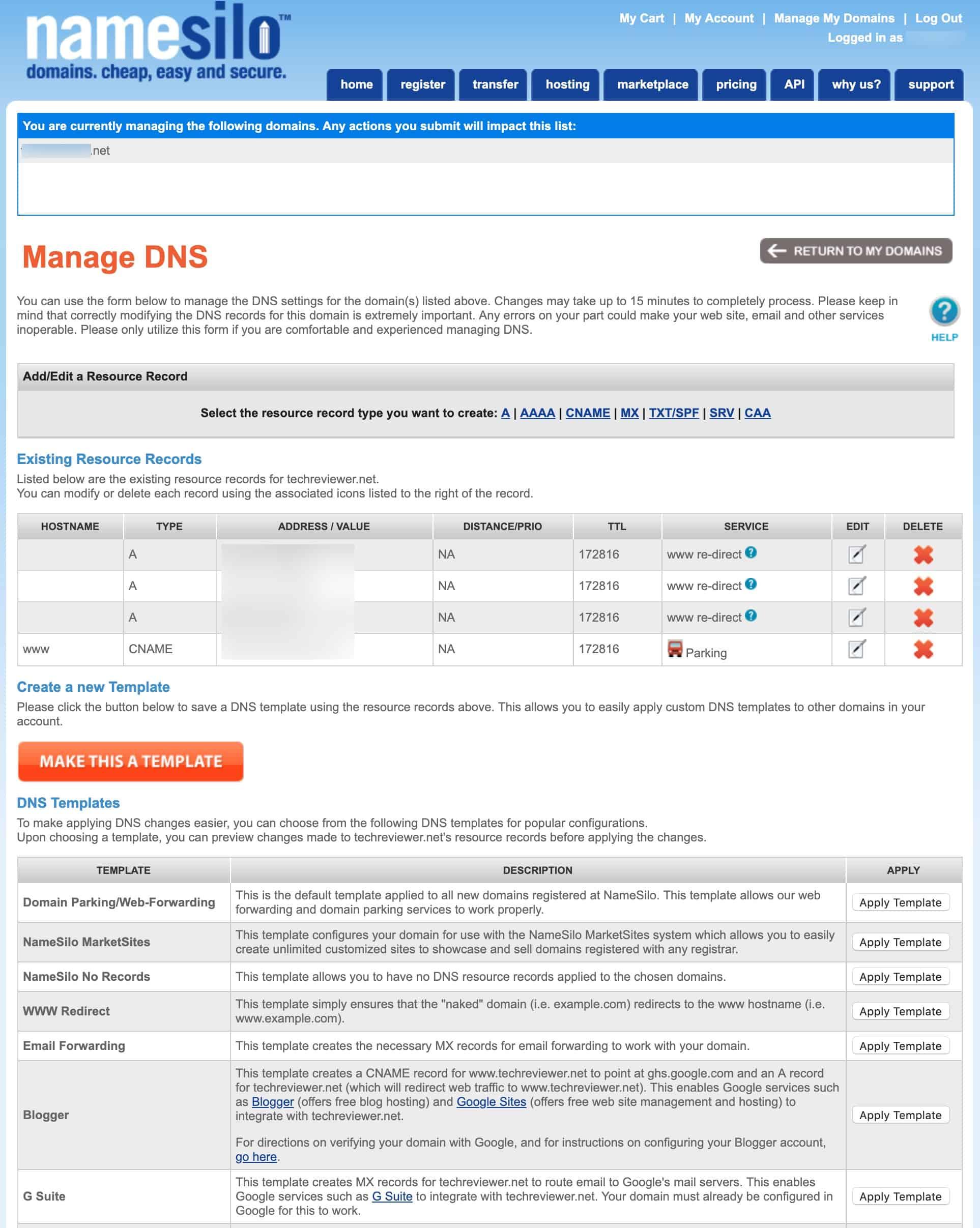 Namesilo Manage DNS