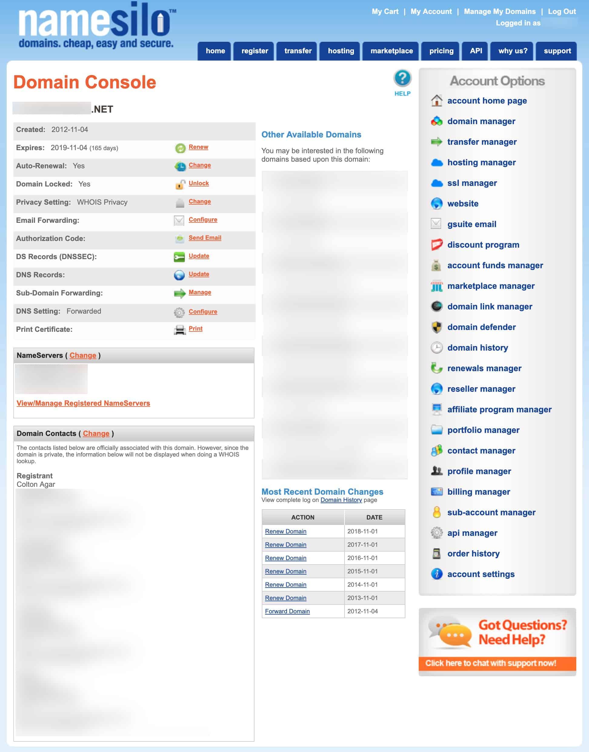 Namesilo domain console