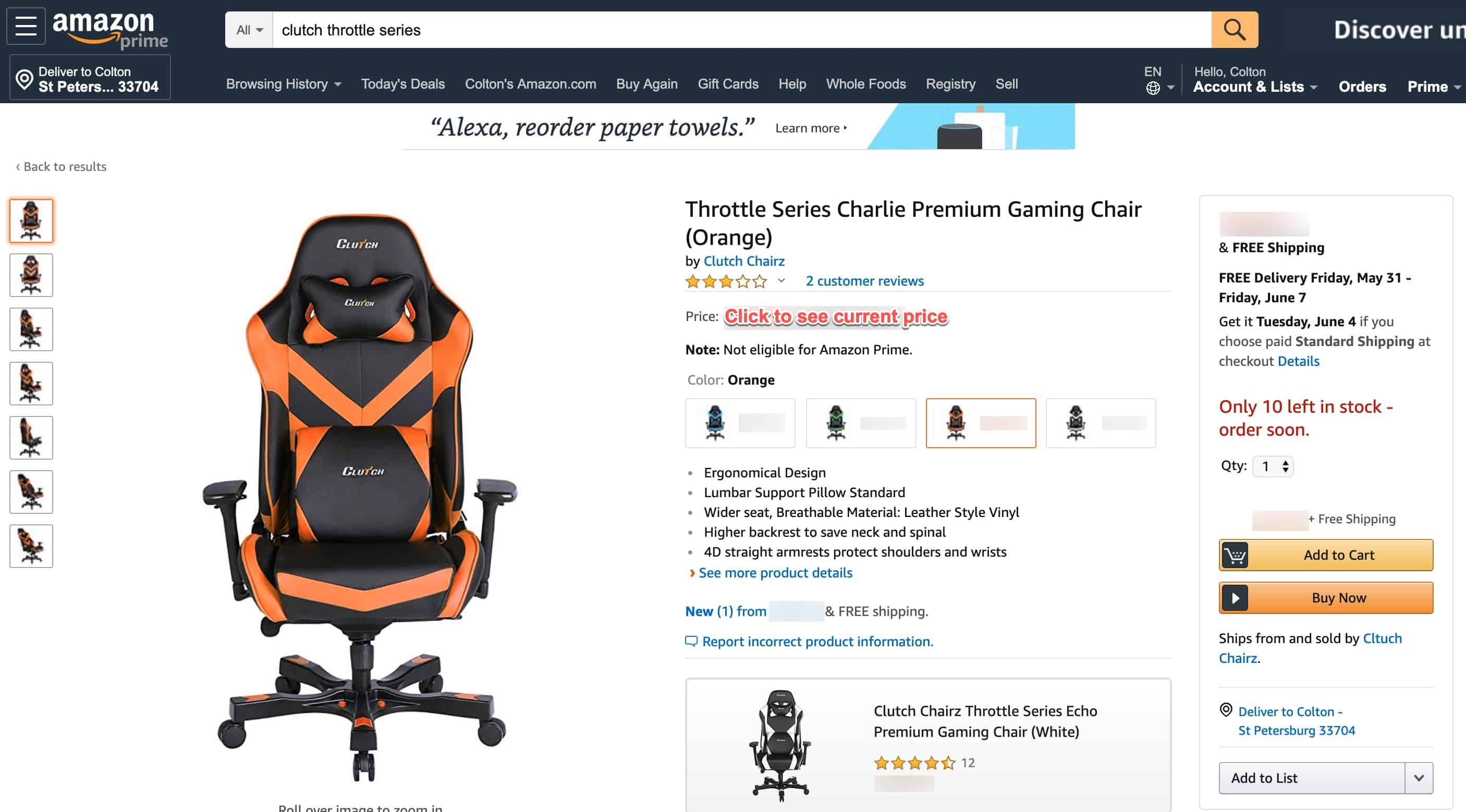 base throttle series gaming chair from clutch