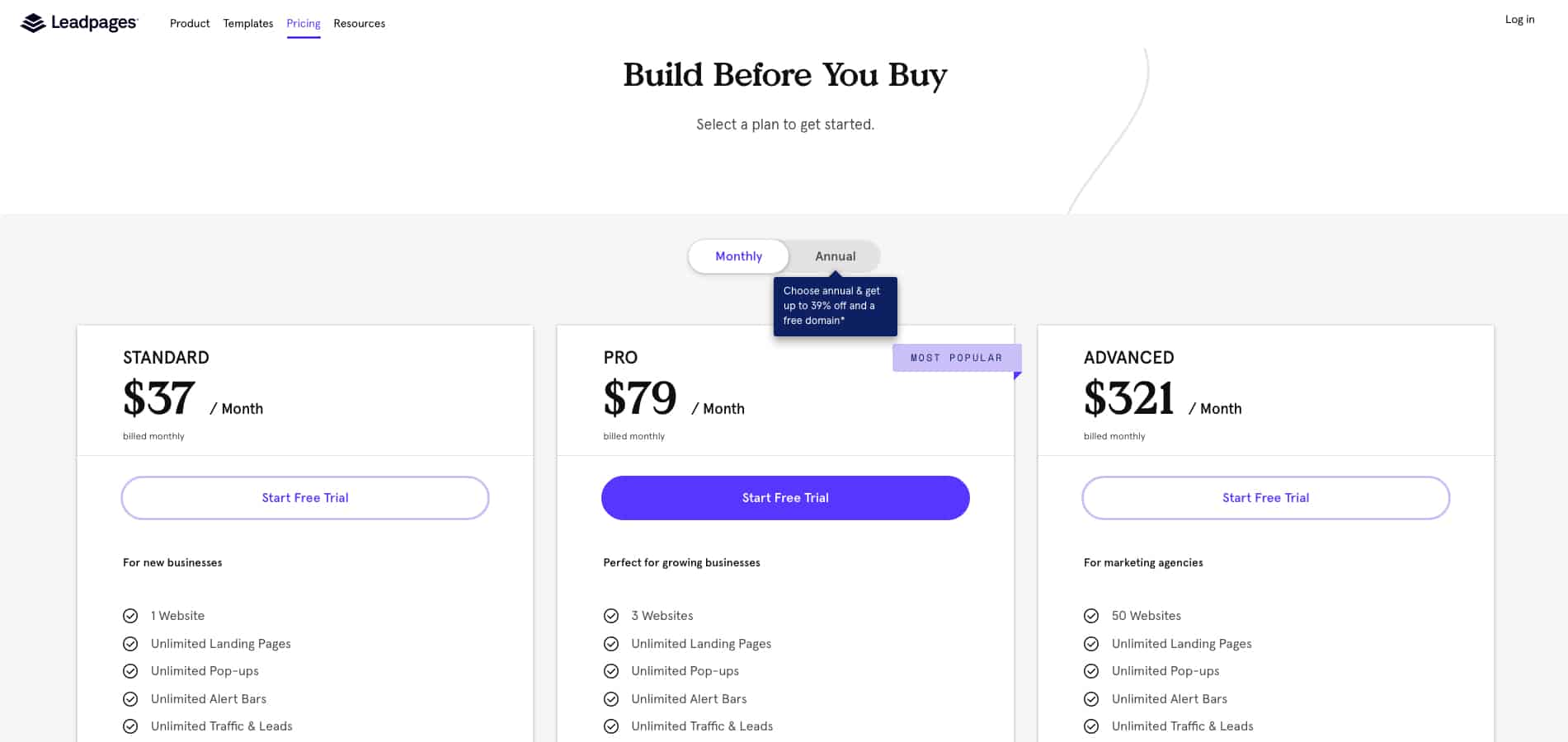 Leadpages Plan Limitations