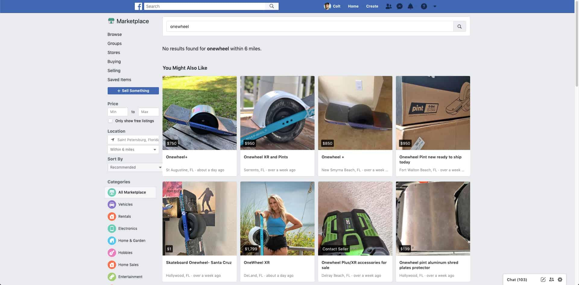 onewheel facebook marketplace